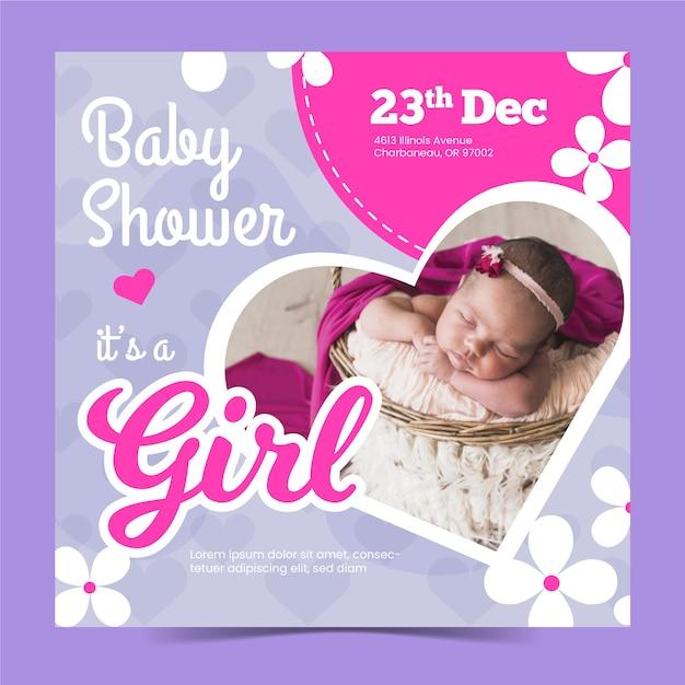 Шаблон приглашения baby girl girl с фото Бесплатные векторы