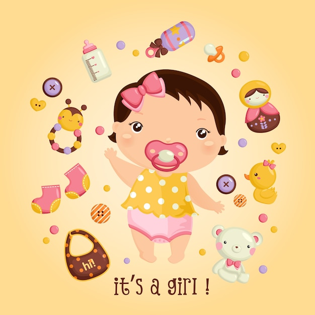 Baby girl and her toys Premium Vector