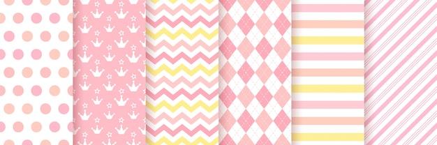 Baby girl pattern. baby shower seamless Premium Vector