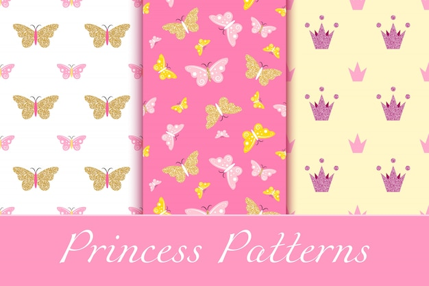 Baby girl patterns with glittering crowns and butterflies Premium Vector