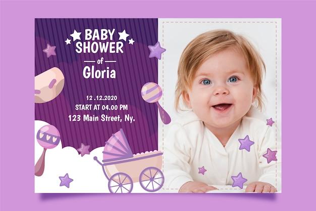 赤ちゃんの女の子のシャワーの招待状テンプレートスタイル 無料ベクター