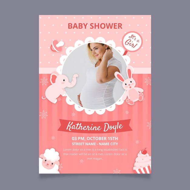 Baby girl shower invitation template with photo Free Vector
