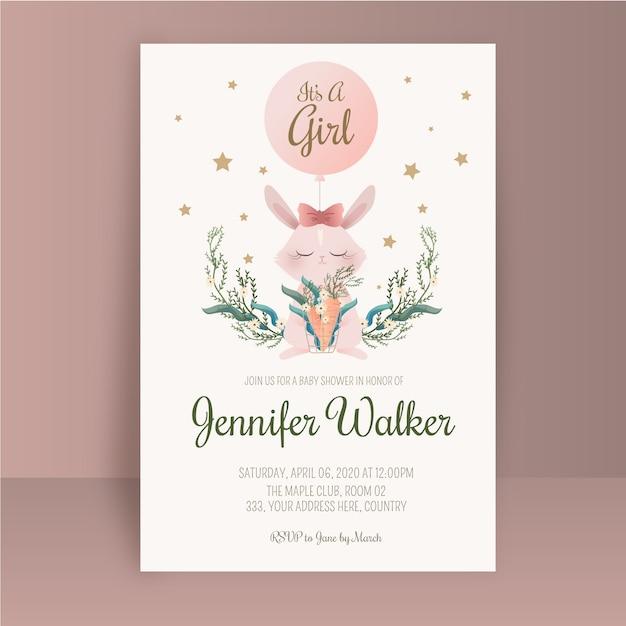 赤ちゃんの女の子のシャワーの招待状のテンプレート 無料ベクター