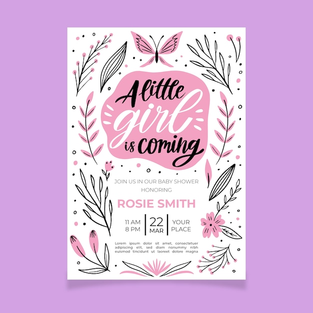 Baby girl shower invitation template Free Vector