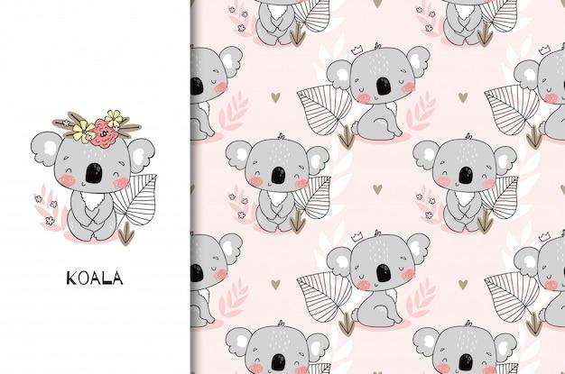 かわいい座っているコアラのクマのキャラクターと赤ちゃんの女の子のシャワー。子供のジャングルカードとシームレスなパターン背景。手描き漫画デザインイラスト。 Premiumベクター
