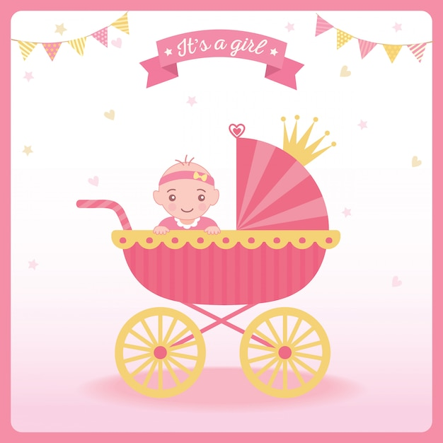 Baby girl shower Premium Vector
