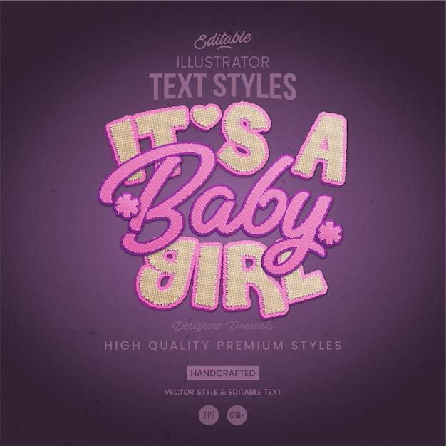 Premium Vector | Baby girl text style