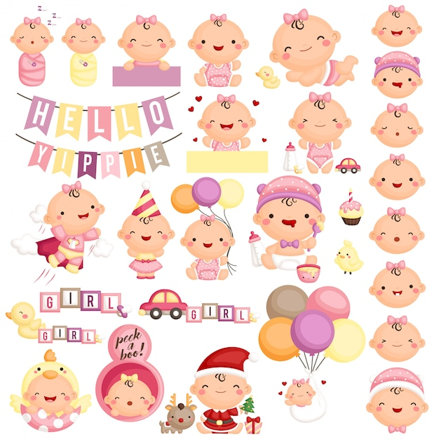 Baby girl in various action and expression Premium Vector