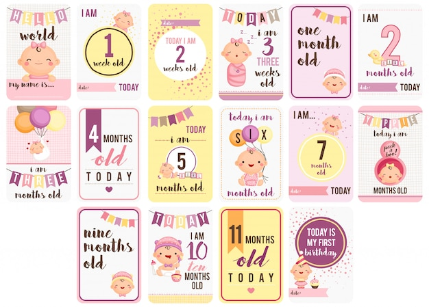 Baby girl weeks and months cards Premium Vector
