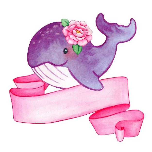 Девочка, кит, акварель Premium векторы