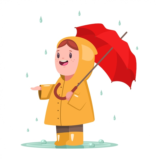 Baby girl in yellow raincoat with umbrella Premium Vector