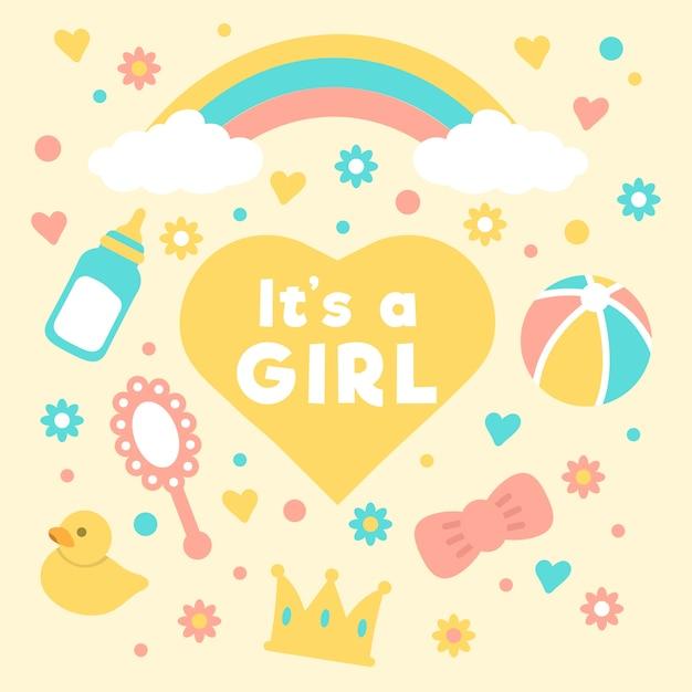 Концепция мероприятия baby girl душ Бесплатные векторы