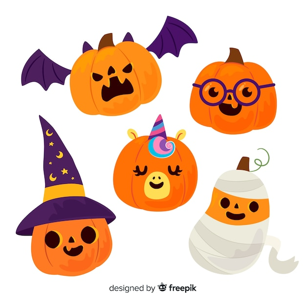 Baby halloween carved pumpkins in costumes Free Vector
