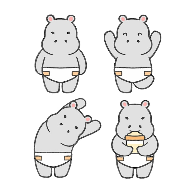 Baby hippo hand drawn cartoon collection Premium Vector