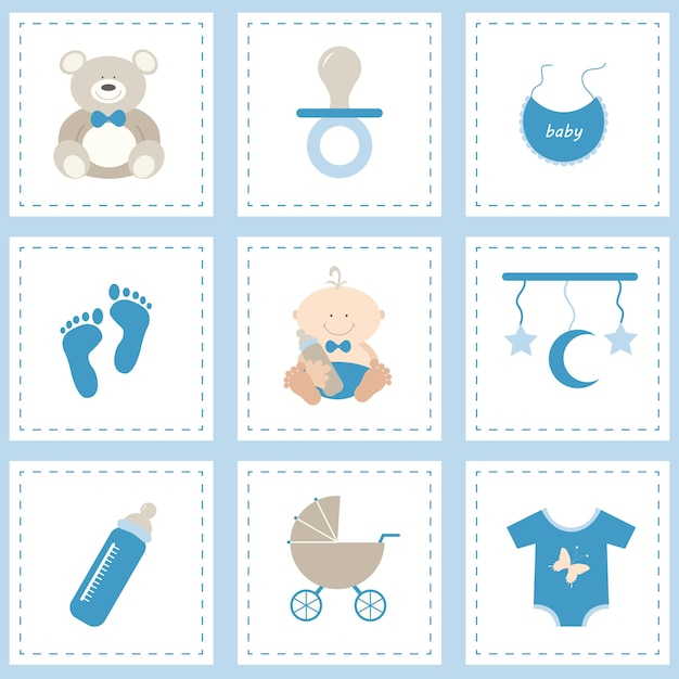 Baby icon set for boy Free Vector
