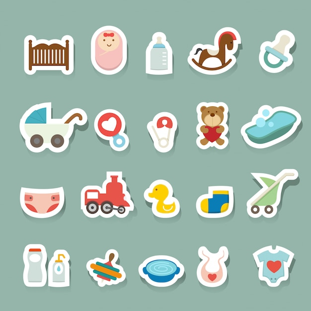 Baby icons set Premium Vector