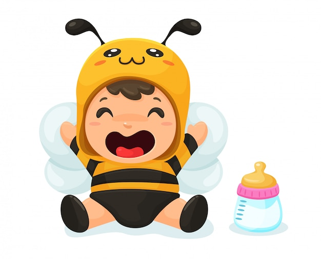 The baby is wearing a cute little bee dress. Premium Vector