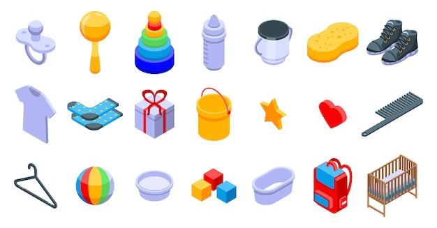 Baby items icons set Premium Vector