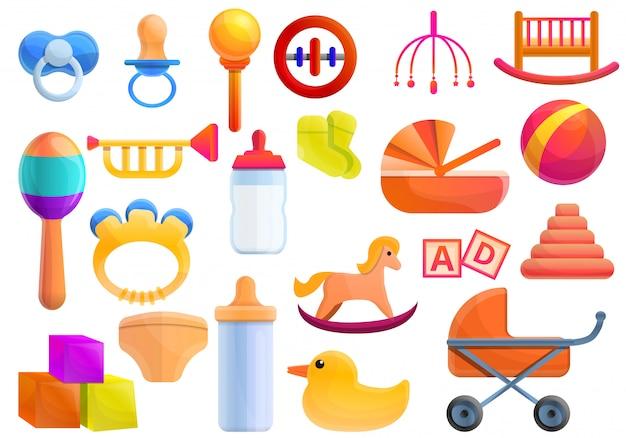 Baby items set, cartoon style Premium Vector