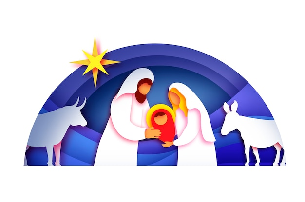 아기 예수 그리스도. 거룩한 자녀와 가족. 마리아와 요셉. 그리스도의 탄생 베들레헴의 별-동쪽 혜성. 종이 아트 스타일의 성탄절 크리스마스. 새해 복 많이 받으세요. 동물. 푸른. 프리미엄 벡터