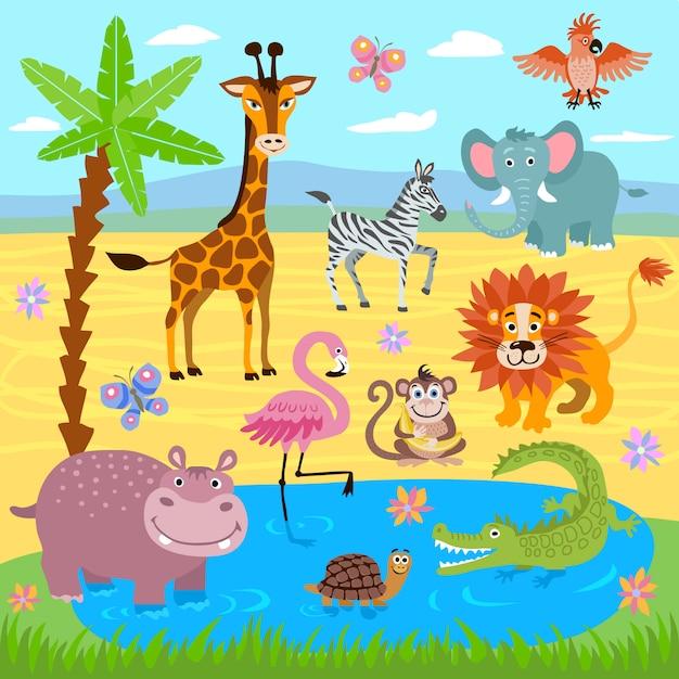 Baby jungle and safari zoo animals nature background Premium Vector