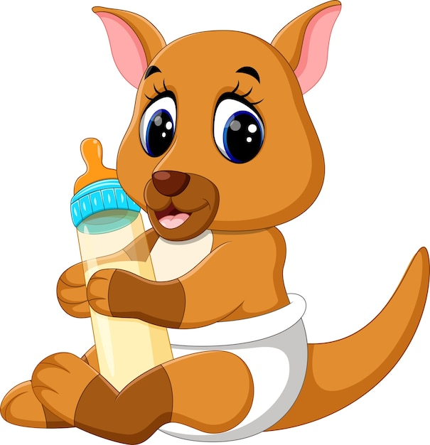 Baby kangaroo holding milk bottle Premium Vector