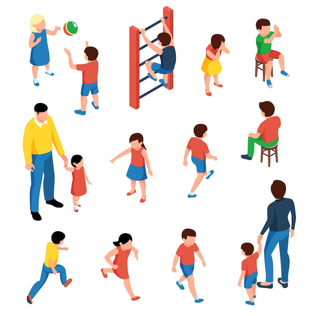 Baby and kids isometric icons set with preschool children playing on playground  isolated Free Vector
