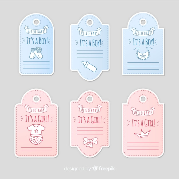 Baby label collection Free Vector