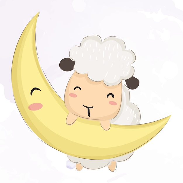 Baby lamb playing with the moon Premium Vector
