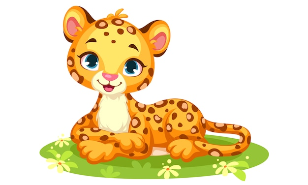 Baby leopard cute cartoon Premium Vector