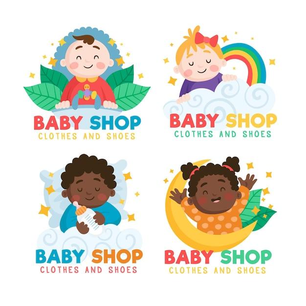 赤ちゃんのロゴコレクションテンプレート 無料ベクター