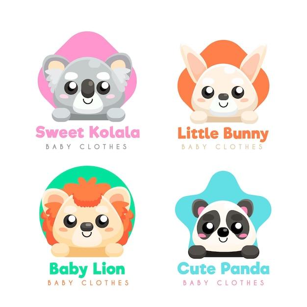 動物と赤ちゃんのロゴコレクション Premiumベクター