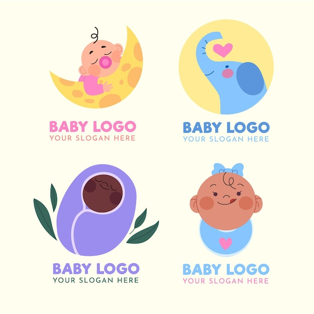 Baby logo collection with slogan Premium Vector