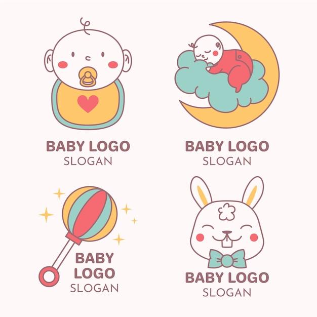 Коллекция детских логотипов Бесплатные векторы