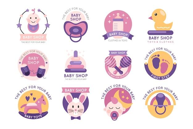 Коллекция детских логотипов Premium векторы
