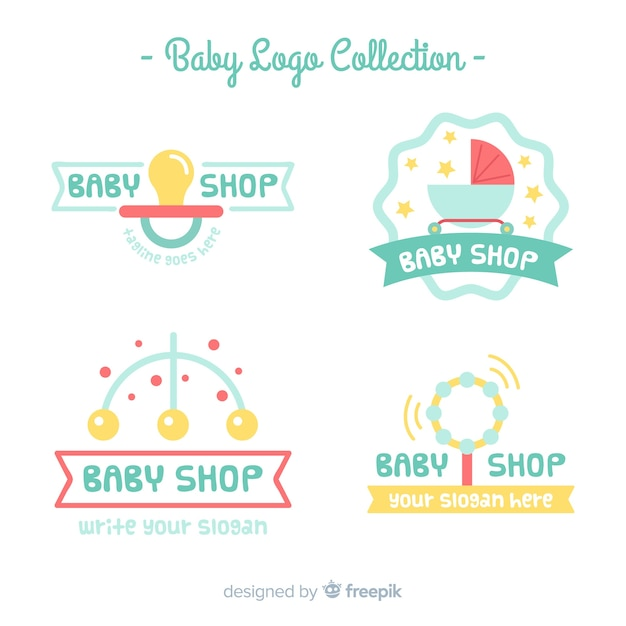 Baby logo pack Free Vector