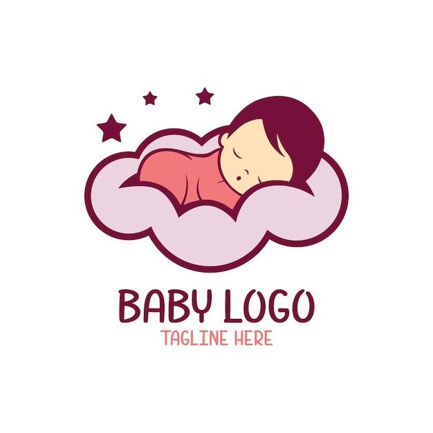 Baby logo template isolated Premium Vector
