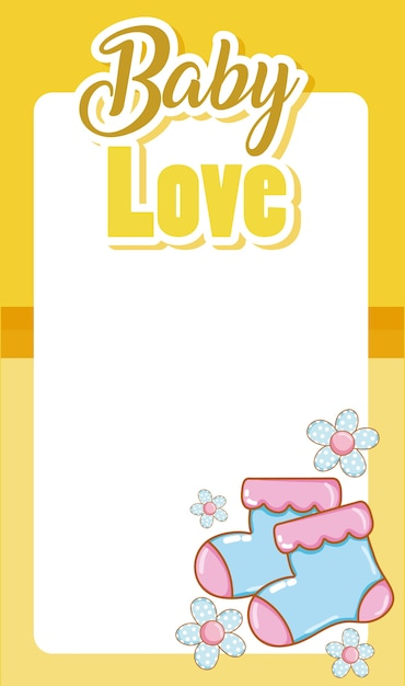 Baby love card with blank frame and cute cartoons Vector | Premium ...