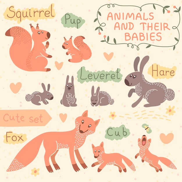 Baby and mommy animal set. squirrel, hare, fox. Premium Vector