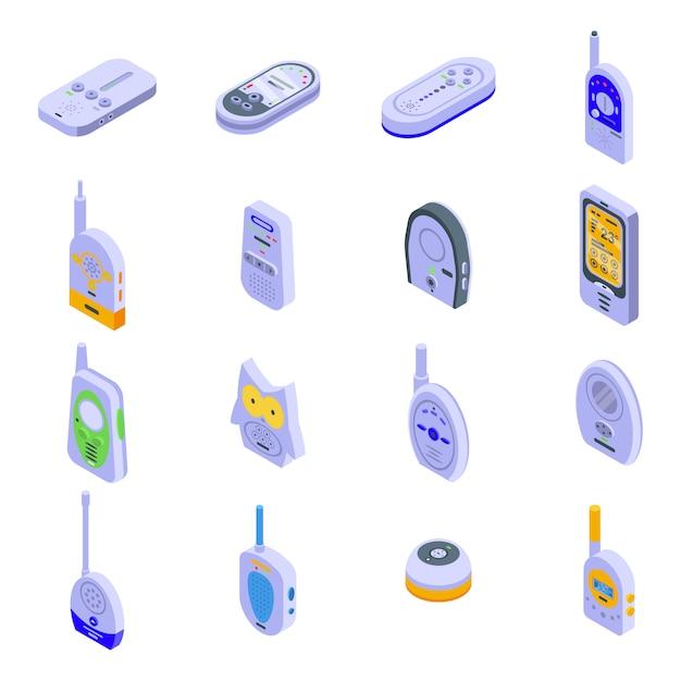 赤ちゃんモニターのアイコンを設定します。ホワイトスペースに分離されたwebデザインの赤ちゃんモニターベクトルアイコンの等尺性セット Premiumベクター