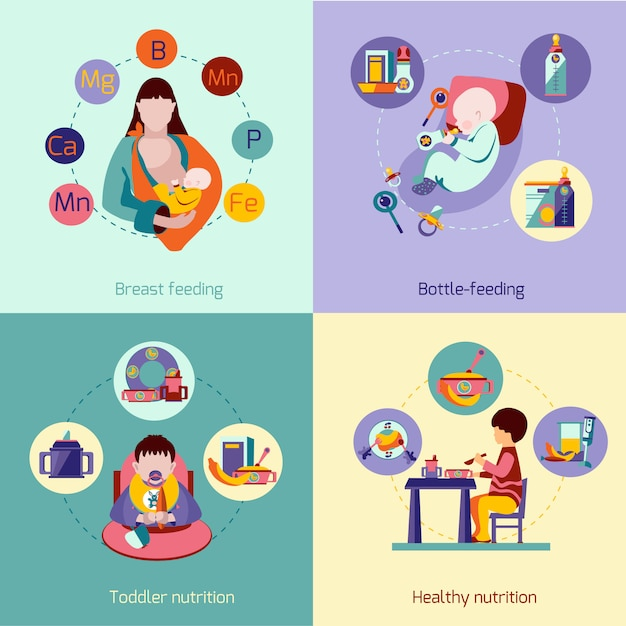 Baby nutrition set Free Vector