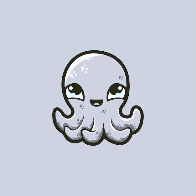 Baby octopus logo  ready to use Premium Vector