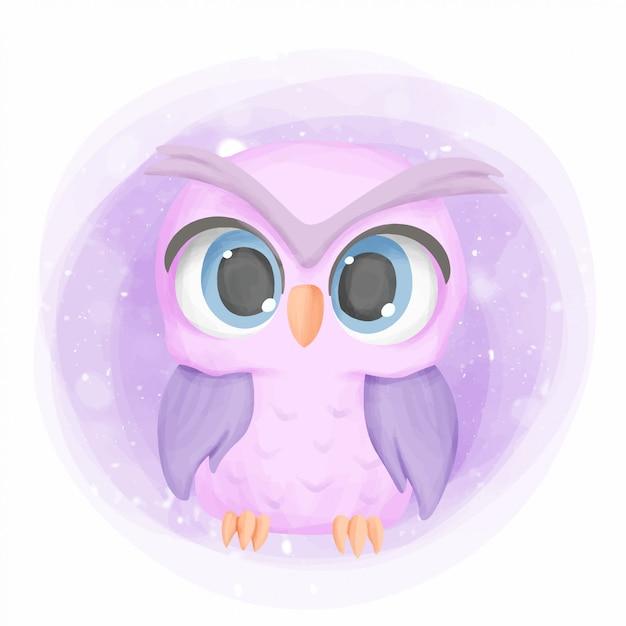 Baby owl cute portrait cartoon nursery Premium Vector