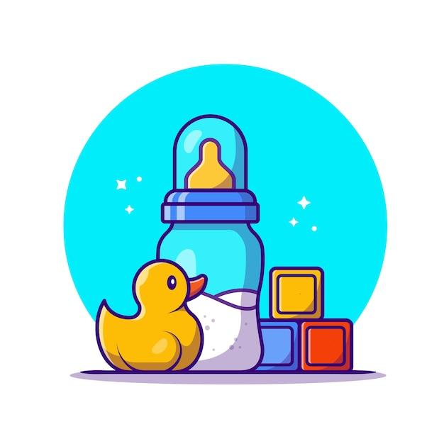 Ciuccio bambino con latte e giocattoli icona del fumetto illustrazione. istruzione oggetto icona concetto isolato. stile cartone animato piatto Vettore gratuito