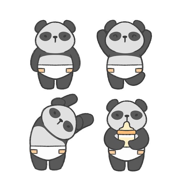 Baby panda hand drawn cartoon collection Premium Vector