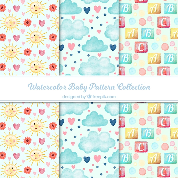 Baby pattern collection with hand drawn elements Free Vector