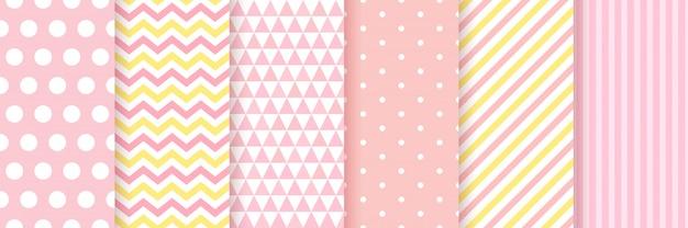 Детские бесшовные. baby девушка душ стола. , установить розовые пастельные узоры для приглашения, пригласить шаблоны, открытки, вечеринки по случаю дня рождения, записки. иллюстрация. Premium векторы