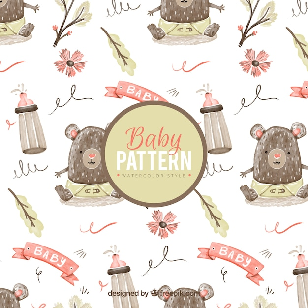Baby pattern with little bear in watercolor\ style