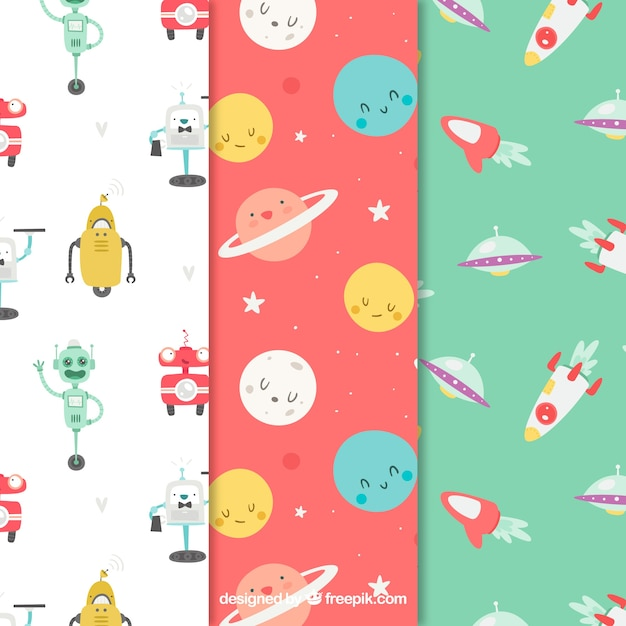 Baby patterns collection in flat style Free Vector
