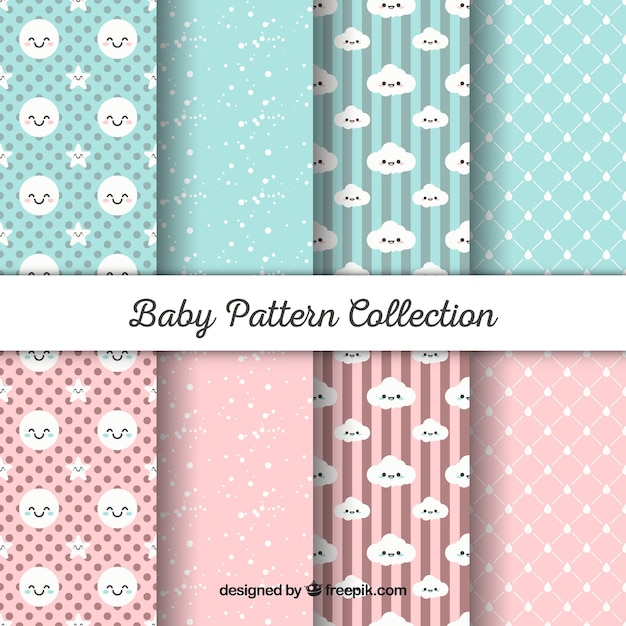 Baby Patterns Collection In Flat Style Vector Free Download Classy Baby Patterns